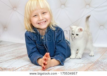 Girl lying down and smiling. Kitten of the British breed is walking on the floor. Rare coloring - a silvery chinchilla. Blue eyes. Cat watching girls hands