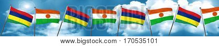 Mauritius flag with Niger flag, 3D rendering