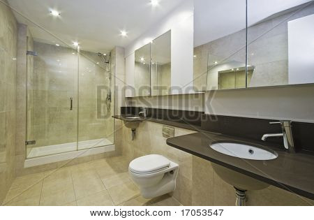 luxury family bathroom in marble with two hand wash basins