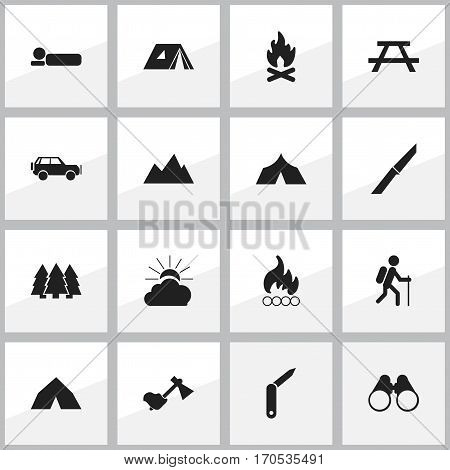 Set Of 16 Editable Trip Icons. Includes Symbols Such As Sunrise, Field Glasses, Shelter And More. Can Be Used For Web, Mobile, UI And Infographic Design.