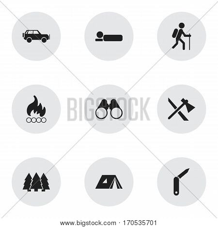 Set Of 9 Editable Trip Icons. Includes Symbols Such As Sport Vehicle, Bedroll, Field Glasses And More. Can Be Used For Web, Mobile, UI And Infographic Design.