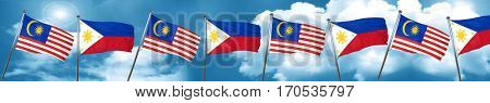 Malaysia flag with Philippines flag, 3D rendering