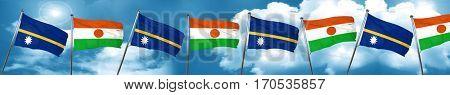 Nauru flag with Niger flag, 3D rendering