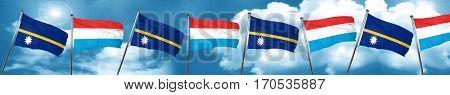 Nauru flag with Luxembourg flag, 3D rendering