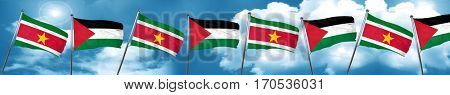 Suriname flag with Palestine flag, 3D rendering
