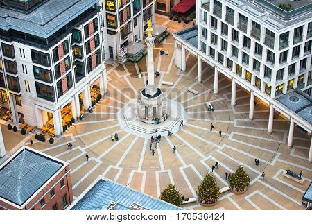 London, UK - December 19, 2016: Paternoster square view at evening from the top of St. Paul cathedral.