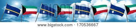 Nauru flag with Kuwait flag, 3D rendering