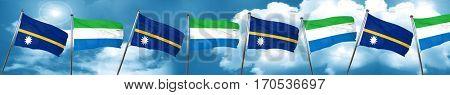 Nauru flag with Sierra Leone flag, 3D rendering