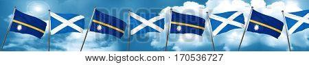 Nauru flag with Scotland flag, 3D rendering