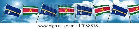 Nauru flag with Suriname flag, 3D rendering
