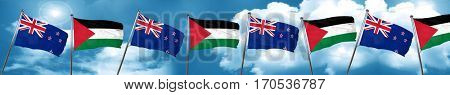 New zealand flag with Palestine flag, 3D rendering