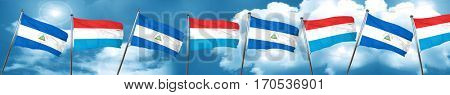 nicaragua flag with Luxembourg flag, 3D rendering