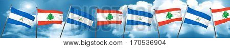 nicaragua flag with Lebanon flag, 3D rendering