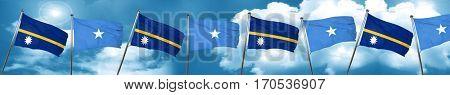 Nauru flag with Somalia flag, 3D rendering