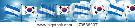 nicaragua flag with South Korea flag, 3D rendering