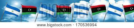 nicaragua flag with Libya flag, 3D rendering