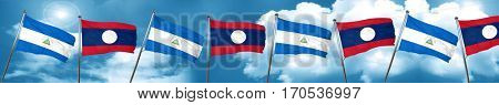 nicaragua flag with Laos flag, 3D rendering