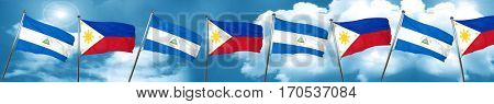 nicaragua flag with Philippines flag, 3D rendering