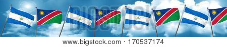 nicaragua flag with Namibia flag, 3D rendering
