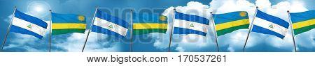 nicaragua flag with rwanda flag, 3D rendering