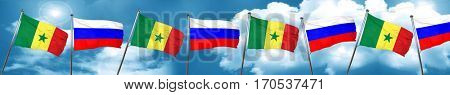 Senegal flag with Russia flag, 3D rendering