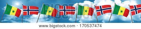 Senegal flag with Norway flag, 3D rendering