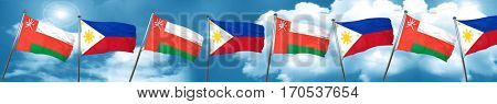 Oman flag with Philippines flag, 3D rendering
