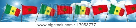 Senegal flag with Morocco flag, 3D rendering