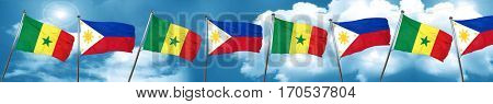 Senegal flag with Philippines flag, 3D rendering