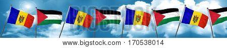 Moldova flag with Palestine flag, 3D rendering