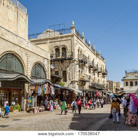JERUSALEM ISRAEL - OCTOBER 3: The Old City of Jerusalem near the Jaffa Gate street market people walk in Jerusalem Israel on October 3 2016