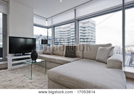 stunning luxury living room with floor to ceiling windows