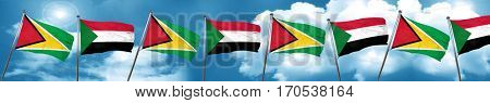 Guyana flag with Sudan flag, 3D rendering