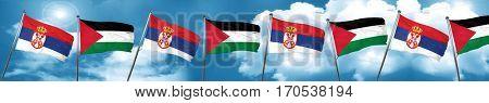 Serbia flag with Palestine flag, 3D rendering