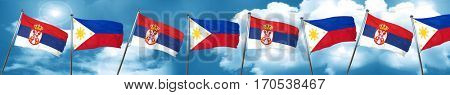 Serbia flag with Philippines flag, 3D rendering
