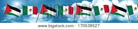 palestine flag with Mexico flag, 3D rendering