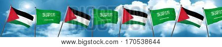 palestine flag with Saudi Arabia flag, 3D rendering