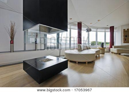 lussuoso attico soggiorno con camino moderno