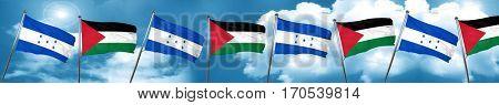 Honduras flag with Palestine flag, 3D rendering