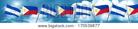 Honduras flag with Philippines flag, 3D rendering