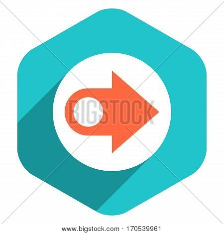 Use it in all your designs. Arrow sign on round icon in hexagon shape. Web internet button in flat long shadow style. Quick and easy recolorable vector illustration a graphic element for design.