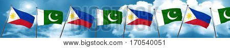 Philippines flag with Pakistan flag, 3D rendering