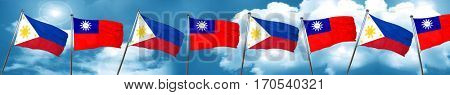 Philippines flag with Taiwan flag, 3D rendering
