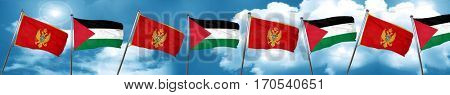 Montenegro flag with Palestine flag, 3D rendering