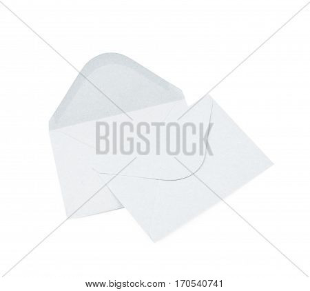 White paper envelope isolated over the white background