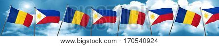 Romania flag with Philippines flag, 3D rendering