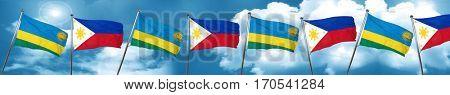 Rwanda flag with Philippines flag, 3D rendering