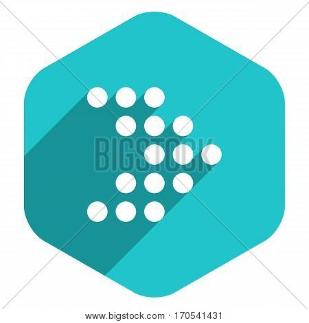 Use it in all your designs. Arrow sign dotted icon LED digital display hexagon icon. Web internet button in flat long shadow style. Quick recolorable vector illustration a graphic element for design.