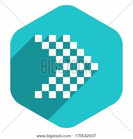 Use it in all your designs. Arrow sign navigation icon LED digital display in hexagon web internet button in flat long shadow style. Quick recolorable vector illustration a graphic element for design