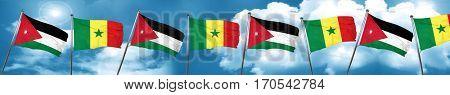 Jordan flag with Senegal flag, 3D rendering